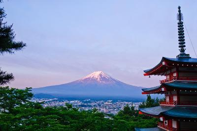 Dawn and Mt.Fuji with Pagoda