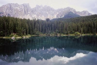 Landscape of Carezza Lake and Latemar Mountain