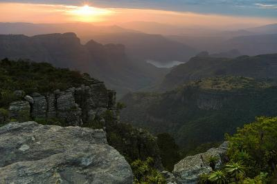 Sunset over Three Rondavels Seen from Mariepskop Mountain, Limpopo Province, Mpumalanga Province, S