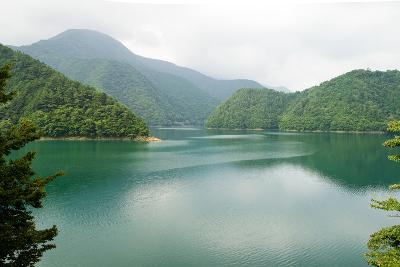 Lake Surrounded by Forested Mountains, Japan
