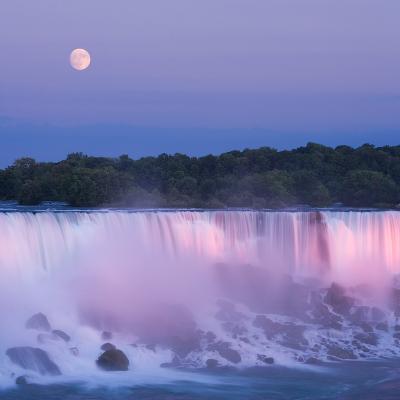 Usa, New York, Moon over American Falls at Dusk