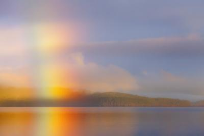 Usa, Washington State, Kitsap County, Seabeck, Hood Canal, Sunrise Rainbow over the Sea