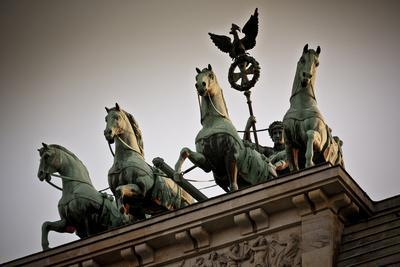Horse Sculptures on Roof of Building