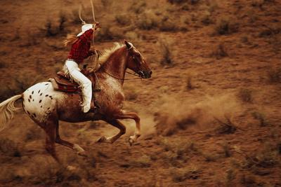 Cowgirl on Horseback with Lasso