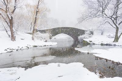 Usa, New York, New York City, Central Park, Gapstow Bridge in Winter