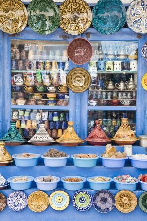 Crafts Store with Colorful Ceramics and Rocks