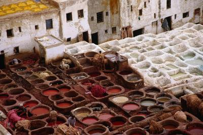 The Fes Leather Tannery with its Colourful Wells and Pungent Odour. the World Famous Leather is Dye