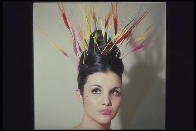 COLORED STALKS OF WHEAT IN WOMANS HAIR