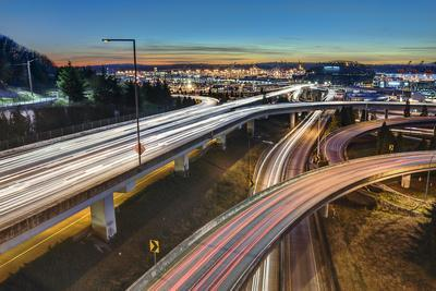 Seattle Interstates, Sunset, and Light Trails