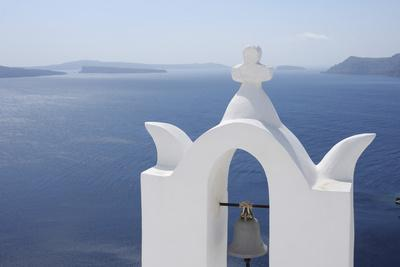 Bell Tower with Caldera in the Distance, Oia, Santorini Island, Cyclades Islands, Greek Islands, Gr