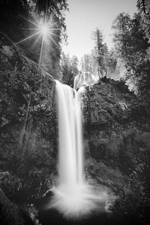 Falls Creek Falls in Black and White, Washington, Columbia River Gorge