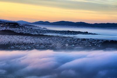 Drifting Morning Fog Over Sea Cliff, Sunset and Richmond San Francisco