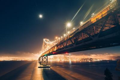 Moonlight Cityscape, San Francisco Bay Bridge at Night