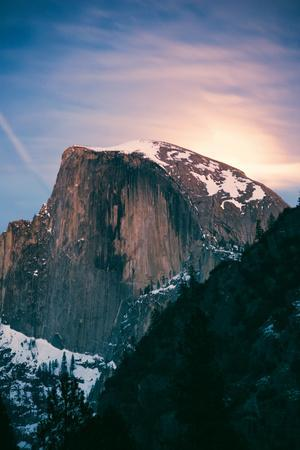 Magic Moon Light. Half Dome, Yosemite National Park, Hiking Outdoors