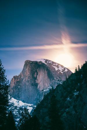 Moon Glow, Half Dome, Yosemite National Park, Hiking Outdoors