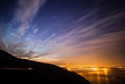 Before Dawn and Orange Glow at Golden Gate, San Francisco