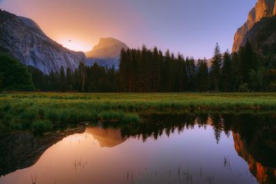 Half Dome Morning Light Beam and Reflection, Cooks Meadow, Yosemite Valley