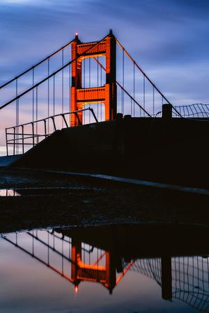 Rain Reflection, Early Morning Golden Gate Bridge, San Francisco