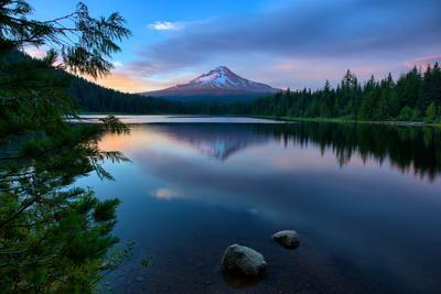 Day's End at Trillium Lake Reflection, Summer Mount Hood Oregon