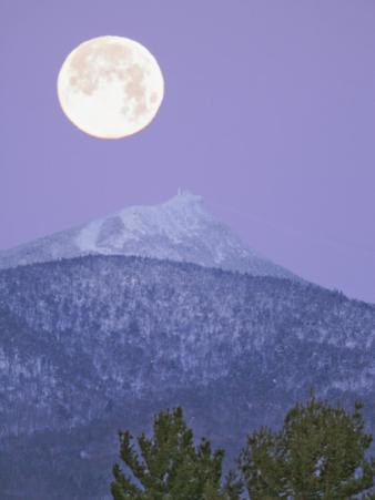 Full Moon Setting Behind Jay Peak, Vermont. the Alpine Tree Line Illustrates Altitudinal Zonation