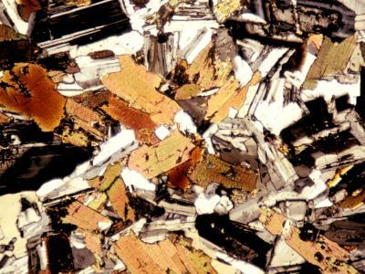 Mica Diorite Thin Section Showing Component Crystals, Polarized View