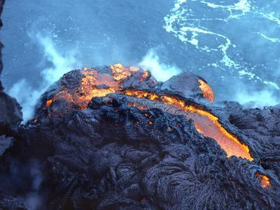 Lava Flowing into the Pacific Ocean, Volcanoes National Park, Hawaii, USA