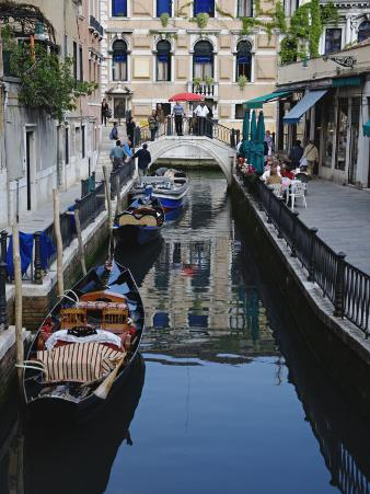 Boats Docked Along One of Many Inner Canals of Venice, Italy