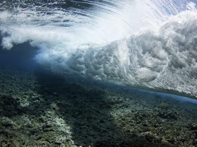 Underwater View of a Wave Crashing over a Coral Reef, Yap, Micronesia