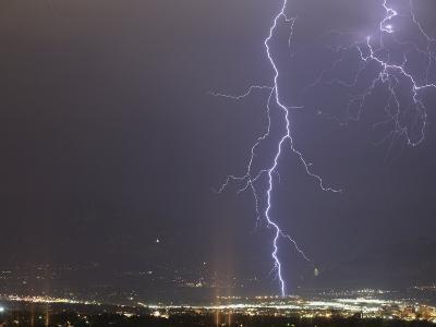 Lightning in Colorado Springs, Colorado, Usa During a Summer Thunderstorm