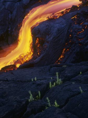 Lava Flow from the Kilauea Volcano, Hawaii, USA
