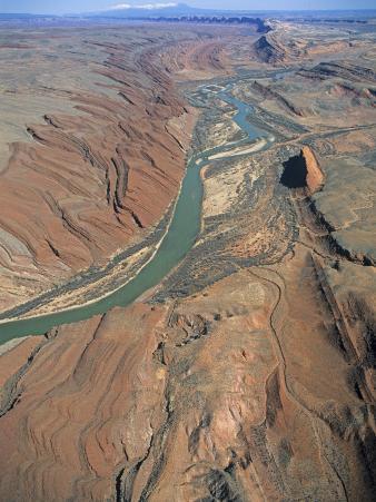 Monument Uplift, Comb Ridge, San Juan River with Sand Bars, San Juan County, Utah, USA