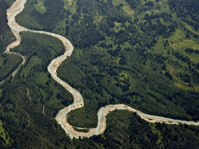 Aerial Image of a Meandering Stream, Glacier Bay National Park, Alaska, USA