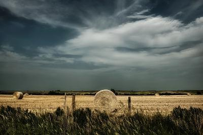 Rural Landscape with Dramatic Sky over Farmland