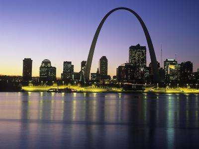 St Louis Arch and Skyline at Night Reflected on Mississippi River
