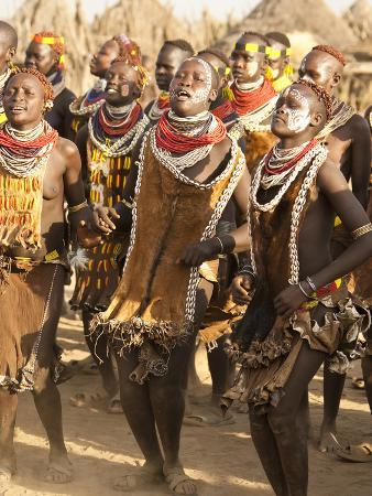 Members of the Karo Tribe During a Dance Ceremony, Omo River Valley, Ethiopia