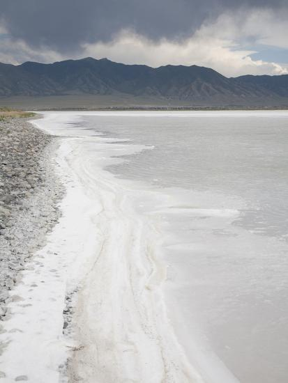 Precipitation Of Salt Along The Edge Of A Lake In The Great Salt