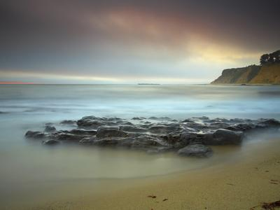 Wave Eroded Rocks on a Sandy Beach, Santa Cruz, California, USA
