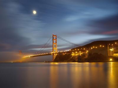 Fog and the Moon over the Golden Gate Bridge at Sunset, San Francisco, California, USA