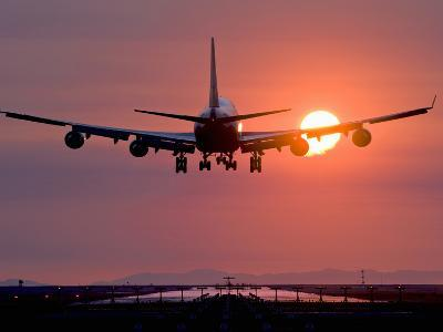 Boeing 747 Landing at Sunset, Vancouver International Airport, British Columbia, Canada