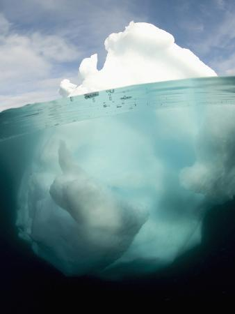 Antarctic Iceberg Showing That the Largest Mass Is Underwater