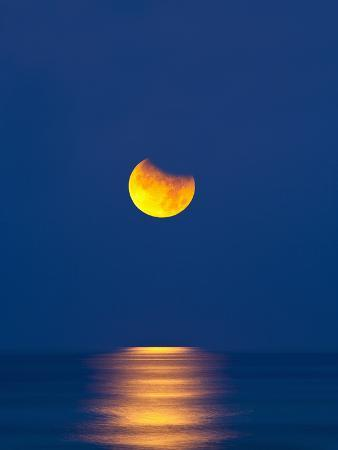 Partial Eclipse of the Moon, Setting over the Gulf of Mexico on the Morning of June 26, 2010