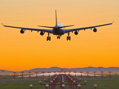 Airbus 340 Landing at Vancouver International Airport, British Columbia, Canada
