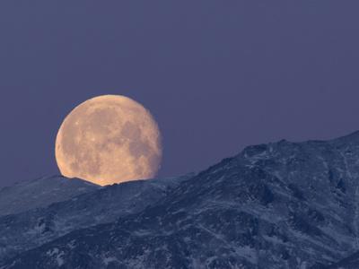 Moon over the Winter Alaska Range, Denali National Park, Alaska, USA