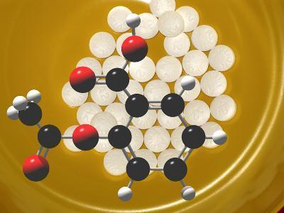 Generic Aspirin Tablets with Aspirin Molecular Model, Acetylsalicylic Acid