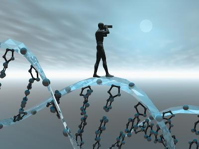 Biomedical Illustration of a Male Human Likeness Standing on a DNA Strand Peering into the Future