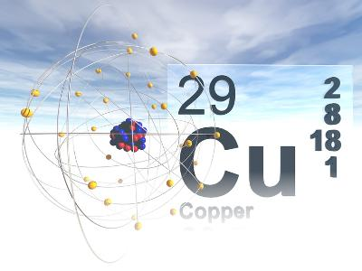 Model of a Copper Atom with its Atomic Number and Symbol
