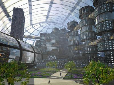 Illustration of an Enclosed City of the Future