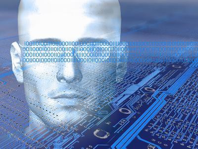 Biomedical Illustration of a Man in a Digital World