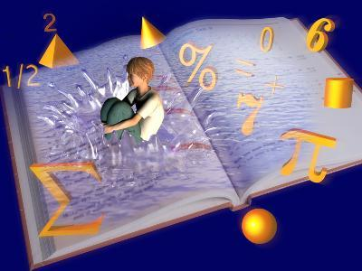 Illustration of a Boy Jumping into a Mathematics Textbook