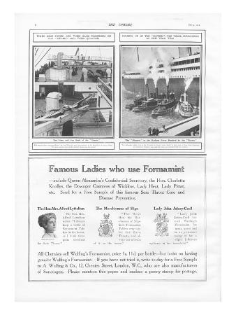 Illustrations of the Titanic and Olympic.